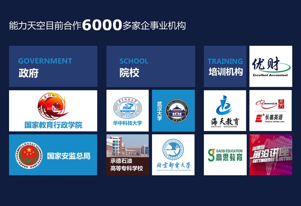 能力天空目前合作2500多家企事业机构
